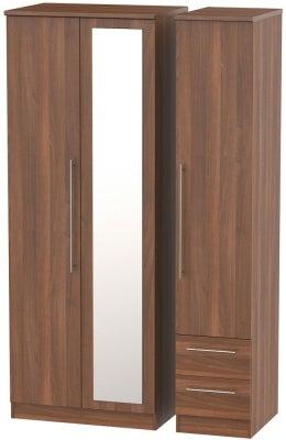 Sherwood Noche Walnut 3 Door 2 Drawer Tall Combi Wardrobe