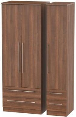 Sherwood Noche Walnut 3 Door 4 Drawer Tall Wardrobe