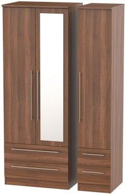 Sherwood Noche Walnut 3 Door 4 Drawer Tall Combi Wardrobe