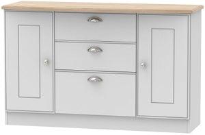 Victoria 2 Door 3 Drawer Sideboard - Grey and Riviera Oak