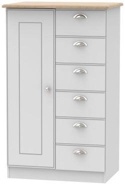 Victoria 1 Door Childern Wardrobe - Grey Matt and Riviera Oak