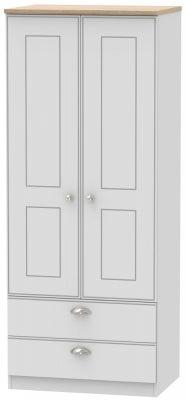 Victoria 2 Door 2 Drawer Wardrobe - Grey Matt and Riviera Oak