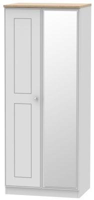 Victoria 2 Door Mirror Wardrobe - Grey Matt and Riviera Oak