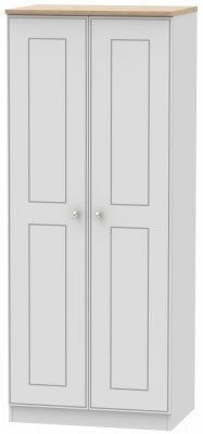 Victoria 2 Door Wardrobe - Grey Matt and Riviera Oak