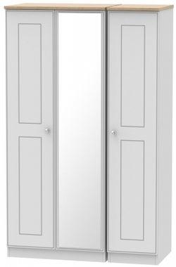 Victoria 3 Door Mirror Wardrobe - Grey Matt and Riviera Oak
