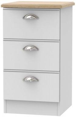 Victoria 3 Drawer Bedside Cabinet - Grey Matt and Riviera Oak