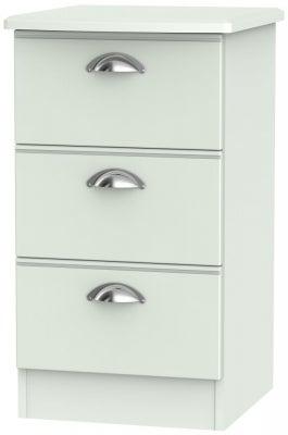 Victoria Grey Matt 3 Drawer Bedside Cabinet