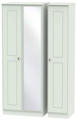 Victoria Grey Matt 3 Door Tall Mirror Wardrobe