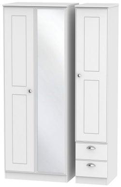 Victoria White Ash 3 Door 2 Right Drawer Tall Combi Wardrobe