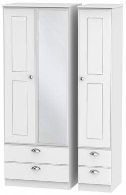 Victoria White Ash 3 Door 4 Drawer Tall Combi Wardrobe