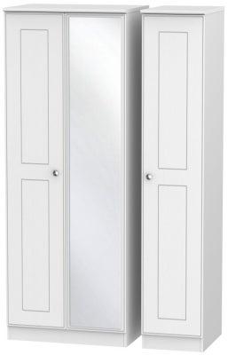 Victoria White Ash 3 Door Tall Mirror Wardrobe