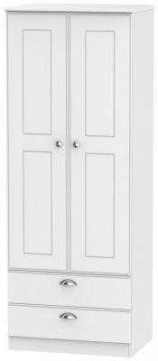 Victoria White Ash 2 Door 2 Drawer Tall Wardrobe