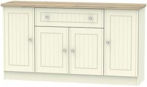 Vienna 4 Door 1 Drawer Wide Sideboard - Cream Ash and Bordeaux Oak