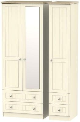Vienna Cream Ash 3 Door 4 Drawer Tall Combi Wardrobe