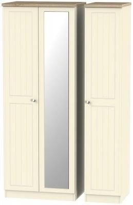 Vienna Cream Ash 3 Door Tall Mirror Wardrobe