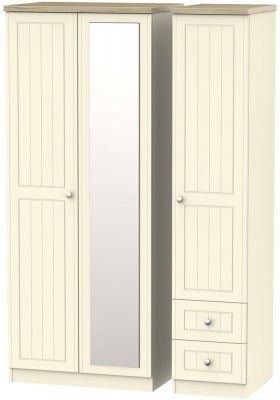 Vienna Cream Ash 3 Door 2 Drawer Combi Wardrobe