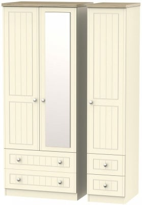 Vienna Cream Ash 3 Door 4 Drawer Combi Wardrobe