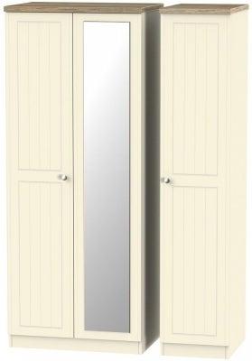 Vienna Cream Ash 3 Door Mirror Wardrobe