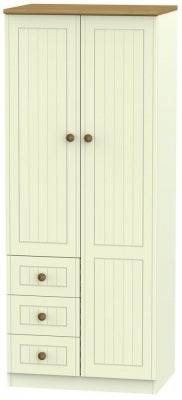 Warwick Cream and Oak 2 Door 3 Drawer Wardrobe
