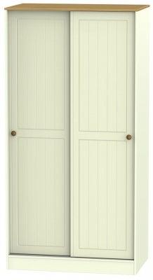 Warwick Cream and Oak 2 Door Sliding Wardrobe