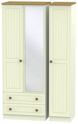 Warwick Cream and Oak 3 Door 2 Left Drawer Tall Mirror Wardrobe