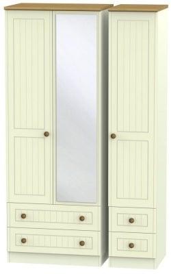Warwick Cream and Oak 3 Door 4 Drawer Tall Mirror Wardrobe