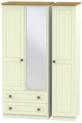 Warwick Cream and Oak 3 Door 2 Left Drawer Mirror Wardrobe