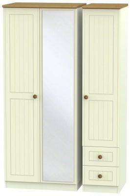Warwick Cream and Oak 3 Door 2 Right Drawer Mirror Wardrobe