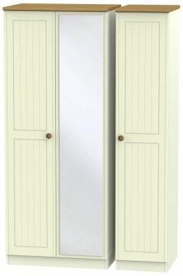 Warwick Cream and Oak 3 Door Mirror Wardrobe