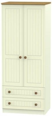 Warwick Cream and Oak 2 Door 2 Drawer Wardrobe