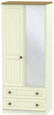 Warwick Cream and Oak 2 Door Mirror Combi Wardrobe