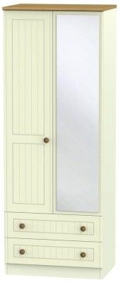 Warwick Cream and Oak 2 Door Tall Mirror Combi Wardrobe