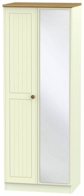 Warwick Cream and Oak 2 Door Tall Mirror Wardrobe