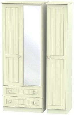 Warwick Cream 3 Door 2 Right Drawer Tall Mirror Triple Wardrobe