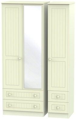 Warwick Cream 3 Door 4 Drawer Tall Mirror Triple Wardrobe