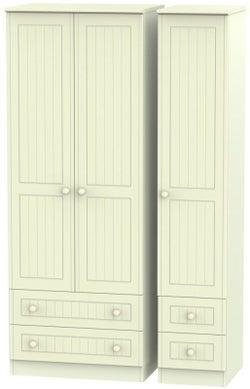 Warwick Cream 3 Door 4 Drawer Tall Triple Wardrobe