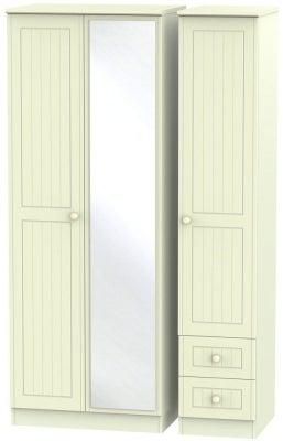 Warwick Cream 3 Door 2 Left Drawer Tall Mirror Triple Wardrobe