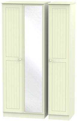 Warwick Cream 3 Door Tall Mirror Triple Wardrobe