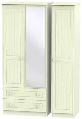 Warwick Cream 3 Door 2 Left Drawer Mirror Triple Wardrobe