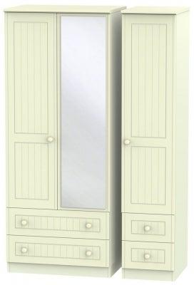 Warwick Cream 3 Door 4 Drawer Mirror Triple Wardrobe