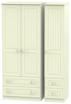 Warwick Cream 3 Door 4 Drawer Triple Wardrobe