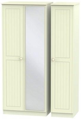 Warwick Cream 3 Door Mirror Triple Wardrobe