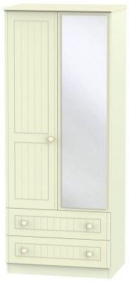 Warwick Cream 2 Door 2 Drawer Mirror Wardrobe