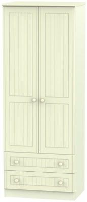 Warwick Cream 2 Door 2 Drawer Tall Wardrobe