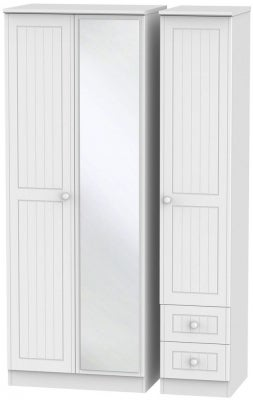 Warwick White 3 Door 2 Right Drawer Tall Mirror Wardrobe
