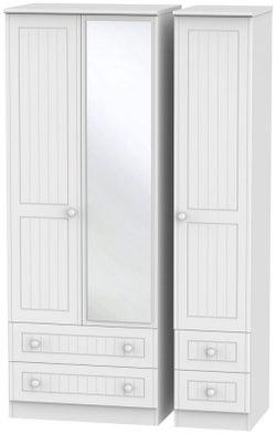 Warwick White 3 Door 4 Drawer Tall Mirror Wardrobe