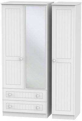 Warwick White 3 Door 2 Left Drawer Mirror Wardrobe