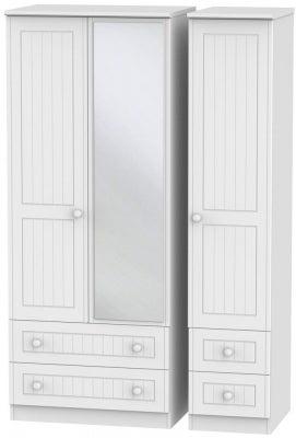Warwick White 3 Door 4 Drawer Mirror Wardrobe