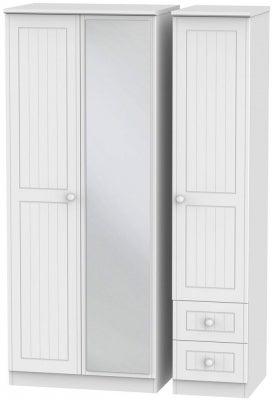 Warwick White 3 Door 2 Right Drawer Mirror Wardrobe
