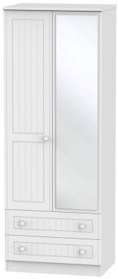 Warwick White 2 Door Tall Mirror Combi Wardrobe